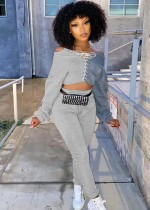 Fall Sexy Contrast Bandage Off Shoulder Crop Top And Pant Two Piece Set