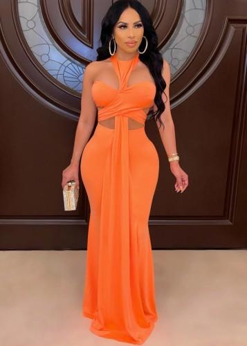 Herbst Sexy Orange Neckholder Tube Aushöhlen Abendkleid