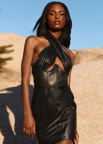 Herfstmode zwarte bandage kraag mouwloze midi-jurk