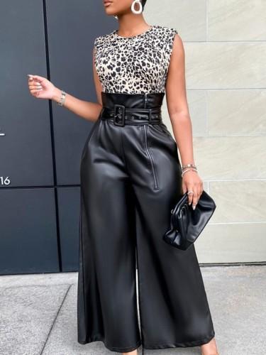 Herbst Trendige Schwarze High Waist Pu-Lederhose mit weitem Bein und Gürtel
