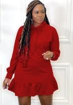 Vestido a media pierna con volantes de manga larga con cuello de lazo rojo casual de otoño