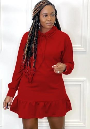 Herfst casual midi-jurk met rode strikkraag en lange mouwen met ruches