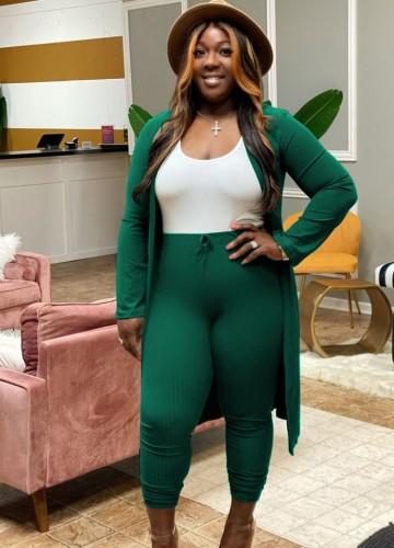 Conjunto Fall Sexy Green Rib manga comprida e calça skinny de cintura alta combinada