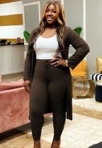 Herbst Sexy Braune Ripp-Langarm-Strickjacke und abgestimmte High Waist Skinny Pants Set