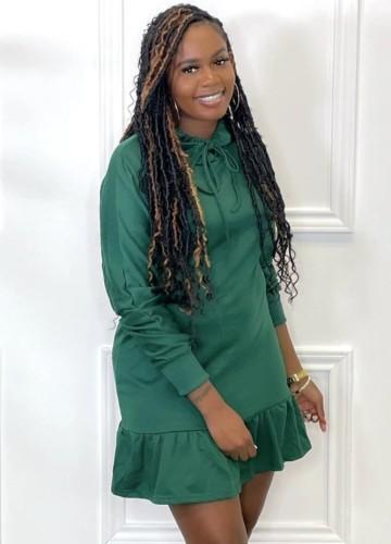 Herfst Casual groene stropdas kraag lange mouwen ruches midi-jurk