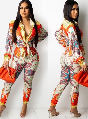 Camicetta annodata a maniche lunghe con stampa floreale retrò sexy autunnale e set di pantaloni abbinati