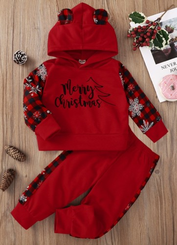 Kids Girl Red With Check Letter Print Hoodies And Pant Tracksuit
