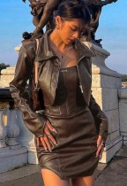 Fall Sexy Brown Pu Leather Zip Crop Jacket