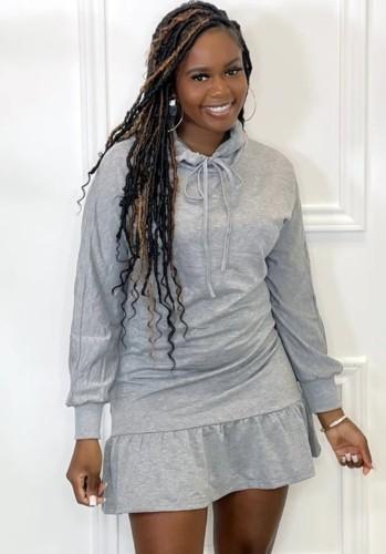 Herfst casual grijze stropdas kraag lange mouwen ruches midi-jurk