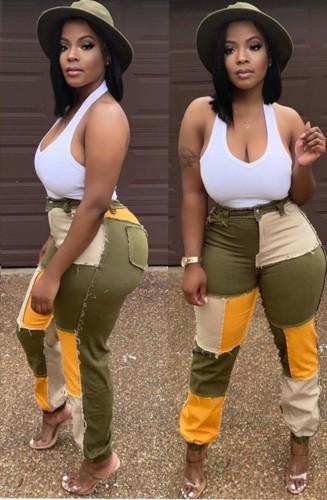 Herbst Trendy Farben Patchwork High Waist Jeans