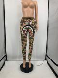 Pantalones deportivos casuales de otoño con cordón y cintura alta de camuflaje verde