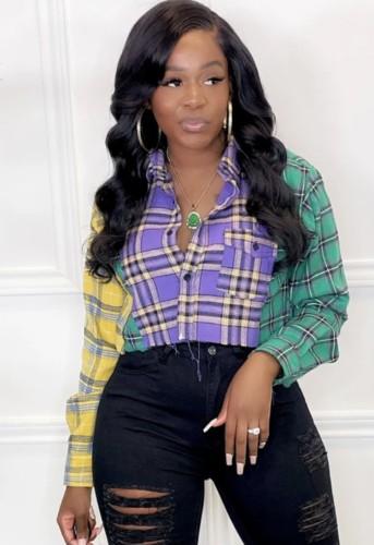 Chemise courte à manches longues et boutons à carreaux contrastants d'automne