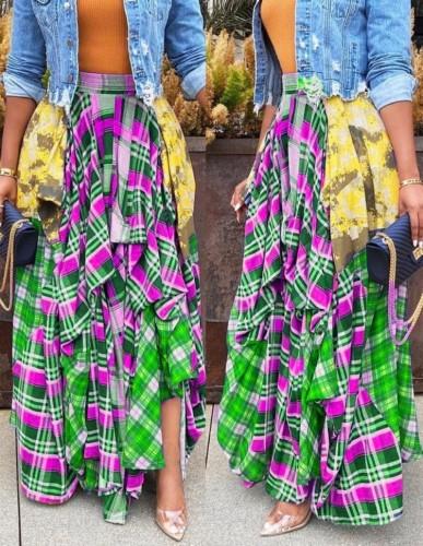Falda larga con estampado de cuadros escoceses sueltos de otoño