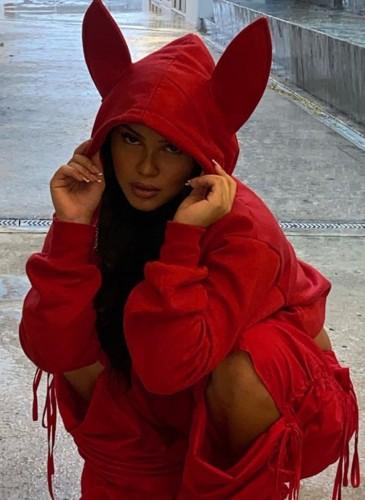 Fall Casaul Red Cute Long Ear Long Sleeve Hoodies