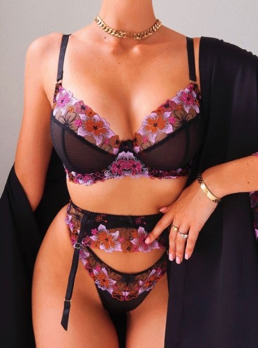 Erotic Floral Purple and Black Galter Lingerie Set