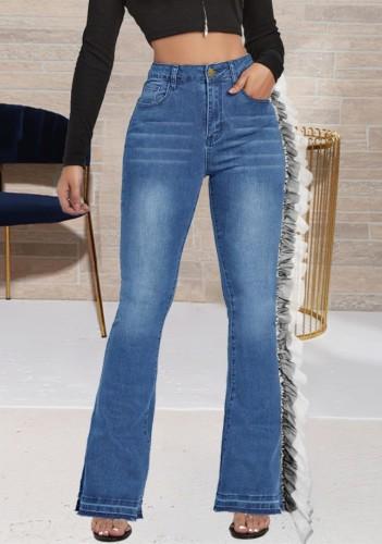 Herbstblaue High Waist Rüschen Patch Unique Jeans