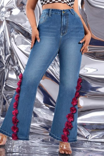 Herbstblaue Baggy-Jeans mit hoher Taille und Glockenboden