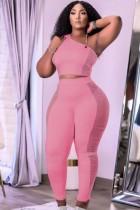Herbst Pink Mesh Patch Enges One Shoulder Crop Top und High Waist Pants 2PC Set