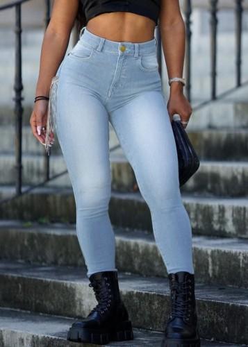 Verwaschene High Waist Fit Jeans in Herbstblau