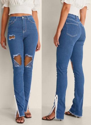 Herbstblaue High Waist Jeans mit Cut-Outs und beschädigtem Schlitz unten