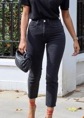 Herbstliche schwarze 3/4-Länge Regular Jeans mit hoher Taille