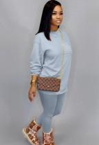 Otoño Casual gris o-cuello camisa básica y pantalones 2PC Loungewear