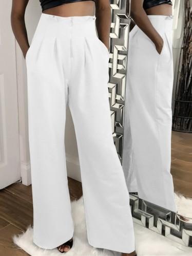 Autumn Formal White High Waist Wide Leg Trousers