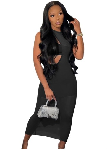 Set di abiti 3 pezzi irregolari neri per feste estive