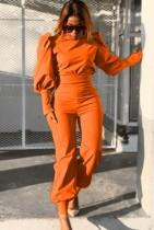 Otoño formal naranja con mangas abullonadas y pantalones a juego Traje de 2 piezas
