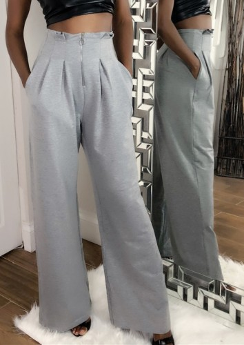 Autumn Formal Grey High Waist Wide Leg Trousers