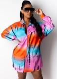 Sonbahar Günlük Baskı Renkli Şort ve Uyumlu Bluz 2'li Takım