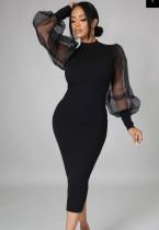 Vestido a media pierna elegante con manga abullonada negra formal de otoño