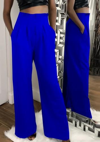 Herbstliche formale blaue Hose mit hohem Bund und weitem Bein