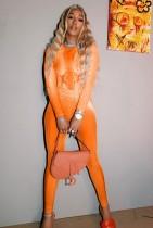Conjunto de 2 piezas de camisa de manga larga naranja con estampado de fiesta de otoño y pantalones a juego