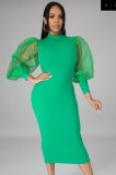 Autumn Formal Green Puff Sleeve Elegant Midi Dress