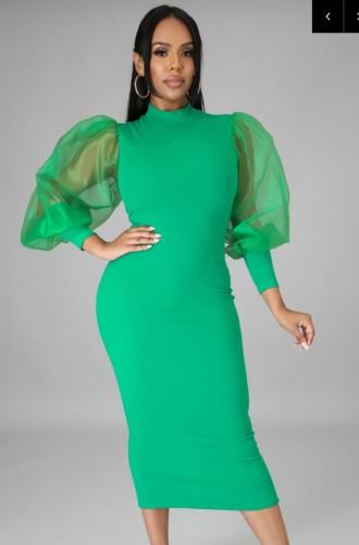 Vestido a media pierna elegante con manga abullonada verde formal de otoño