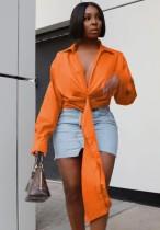 Herbst Orange Sexy Deep-V Unregelmäßige Cropped Bluse
