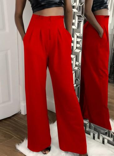 Herbstliche formale rote Hose mit hohem Bund und weitem Bein