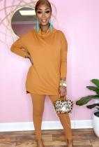 Otoño Casual Camisa suelta de cuello alto naranja y pantalones ajustados Conjunto básico de 2 piezas