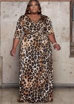 Herbst-Plus Size Print Leoparden Wickel-langes Maxikleid mit passendem Gürtel