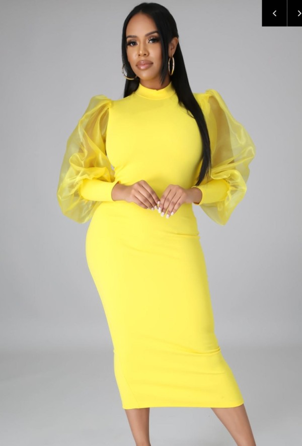 Autumn Formal Yellow Puff Sleeve Elegant Midi Dress