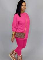Otoño Casual Rose O-cuello Básico Camisa y Pantalones 2PC Loungewear
