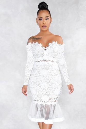 Vestido de fiesta de sirena cariño de encaje blanco formal de otoño