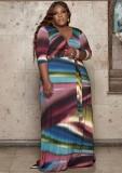 Sonbahar Büyük Beden Baskı Renkli Şal Uzun Maxi Elbise Eşleşen Kemerli