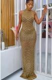 Sonbahar Resmi Boncuklu Altın Yuvarlak Yaka Uzun Abiye Elbise