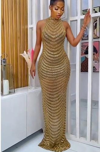 Abito da sera lungo con scollo rotondo in oro formale con perline autunnali
