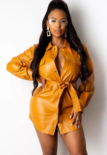 Abito blusa in pelle arancione formale invernale con cintura abbinata