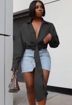 Herbst Schwarz Sexy Deep-V Unregelmäßige Cropped Bluse