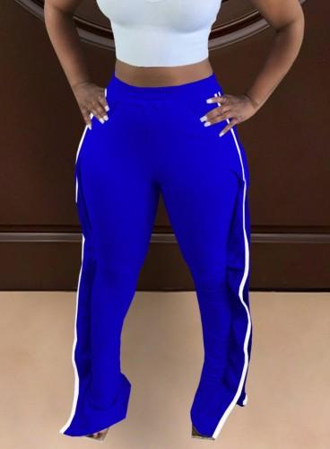 Autumn Blue High Waist Ruffle Sides Sweatpants