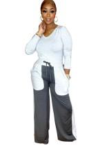 Conjunto de 2 piezas de camisa lisa con cuello en V informal de otoño y pantalones de chándal de color en contraste